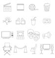 Cinema icons set thin line style vector image