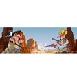 cartoon Injun with a gun and a cowboy vector image