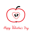 Red apple with heart shape Happy Valentines Day vector image
