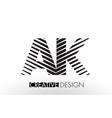 ak a k lines letter design with creative elegant vector image vector image