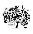 australian map tree with icons set sketch vector image vector image