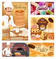 bakery food pastry sweets and baker shop desserts vector image
