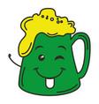 beer green saint patrick icon kawaii character vector image