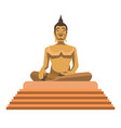 big gold buddha statue with stairs isolated vector image vector image