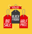 black friday sales tag and banners discount and vector image
