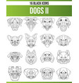 black icon set dogs ii vector image vector image