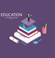 books step education isometric concept vector image vector image