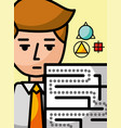 businessman cartoon creativity labyrinth science vector image