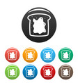 choco butter bread icons set color vector image vector image