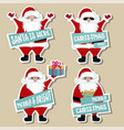 christmas stickers collection with santa vector image