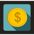 Coin dollar icon flat style vector image vector image
