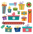 Colorful gift boxes with bows and ribbons vector image vector image