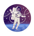 cosmonaut floating in outer space flat concept vector image vector image