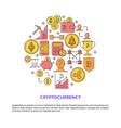 cryptocurrency round concept poster with place vector image vector image