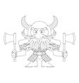 Dwarf warrior contour vector image