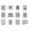 ebook reader icons set outline style vector image vector image