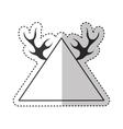 elegant frame with horns vector image