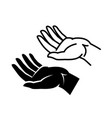 elongated opened empty hand symbol or icon vector image