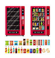 empty and full vending machine with snacks and vector image vector image
