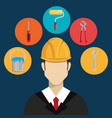 engineer character with construction equipment vector image vector image