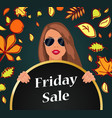 friday sale banner autumn placard with girl vector image