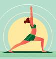girl in yoga warrior pose or virabhadrasana vector image