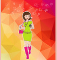 girl looking at notification on mobile phone vector image vector image