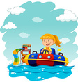 Girl riding on rubber boat vector image vector image