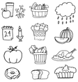 Hand draw element thanksgiving on doodles vector image vector image