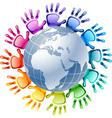 Hands around globe vector image vector image