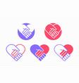 handshake in heart icon on vector image