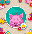 happy chinese new year 2019 card with pink pig vector image vector image