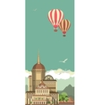 Hot Air Balloon in Sky over the castle vector image vector image