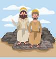jesus the nazarene and john in scene in desert vector image vector image