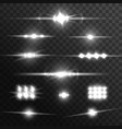 light beams lens glow flare effects vector image