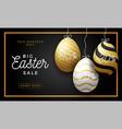 luxury easter egg sale horizontal banner golden vector image vector image