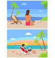 man and woman freelance set vector image vector image