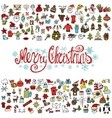 Merry Christmas greeting cardColored iconstitle vector image vector image
