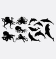 octopus and dolphin animal silhouette vector image
