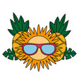 pineapple sun with sunglasses tropical summer vector image vector image