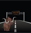 prehistoric animal on highway vector image vector image