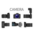 professional digital photo cameras set with lens vector image vector image