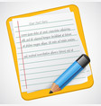realistic notepad icon with blue pencil vector image vector image