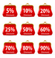 red purse with discount on white background for vector image vector image