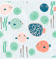 seamless childish pattern with funny fish vector image