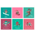 set greeting card with cute owls vector image vector image