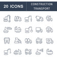 set line icons construction transport vector image vector image