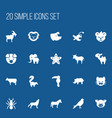 set of 20 editable zoo icons includes symbols vector image vector image