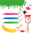 set paint brush on white background vector image vector image