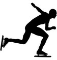 side view black silhouette athlete speed skating vector image vector image